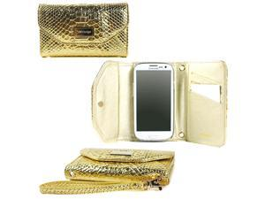 JAVOedge Gold Shiny Crocodile Pattern Clutch Wallet Case with Wristlet for the Samsung Galaxy S3