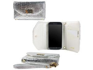 JAVOedge Croc Clutch Wallet Case with Wristlet for the Samsung Galaxy S4 (Silver)