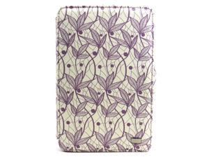JAVOedge Purple Floral Print Fabric Axis 360 Rotating Smart Cover Case with Stand for the Amazon Kindle Fire 7""