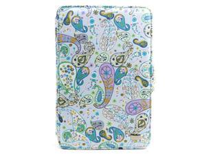 """JAVOedge Blue Paisley Print Fabric Axis 360 Rotating Smart Cover Case with Stand for the Amazon Kindle Fire 7"""""""