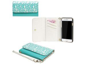 JAVOedge Turquoise Leaf Stencil Clutch Wallet Case with Matching Wristlet for iPhone 6 (4.7 inch)