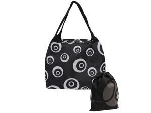 Black Spiral Pattern Black Thermal Insulated Zipper Rectangle Lunch Bag