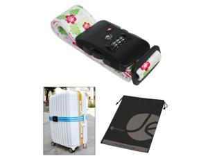 White Cherry Blossom Pattern TSA Approved 3-Dial Combination Locking Travel Luggage Strap and Bonus Reusable Storage Bag