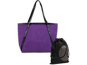 JAVOedge Purple Matte Large Casual Carry All Tote Bag with Zipper Closure Bonus Drawstring Storage Bag