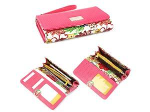 JAVOedge Universal Pink Floral Smartphone Clutch Wallet, Coin Purse, ID Holder with Wristlet for Apple iPhone / Samsung