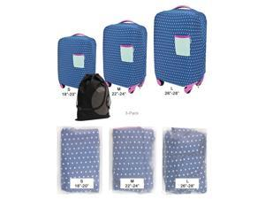 """JAVOedge 3 Pack Blue Polka Dot Stretch Fabric Luggage Cover - 3 Sizes: (SM) 18""""-21"""", (MED) 22""""-25"""", (LG) 26""""-27"""""""