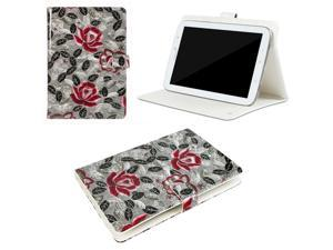 "JAVOedge Gray / Pink Peony Leaves Pattern Universal Book Case for 7-8"" Tablets, iPad Mini, Samsung Tab, Nexus 7, Nook HD"