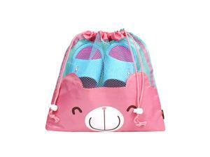 JAVOedge Pink Bear Face Mesh Drawstring Shoe Storage Bag Plus Bonus Reuseable Storage Bag