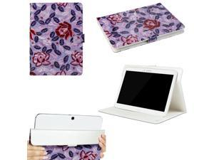 "JAVOedge Purple Rose Pattern Universal Book Case for 9-10"" Tablet, iPad Air, Samsung Note, Nook HD 9, Nexus 10, More"