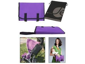 JAVOedge Purple Fabric Fold up Clip On Stoller Attachement Bag / Diaper Bag with Extra Pockets