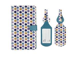 Luggage Set: Polka Dots Extra Long (8.5 in x 5 in) RFID Blocking Passport Case with Pen Holder + 2 Matching Luggage Tags