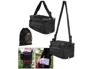 JAVOedge Covertable Black Hanging Stroller Bag or Shoulder Bag with Multiple Pockets for Drinks, Snacks, Toys, Etc.