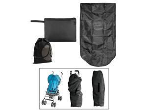 JAVOedge Black Stoller Bag for Over the Top of the Stroller, Waterproof with Bonus Drawstring Bag