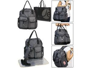 JAVOedge Black with Small Dots 3 Piece Set Diaper Bag, Bottle Zipper Pouch, Changing Mat and Bonus Reusable Tote Bag