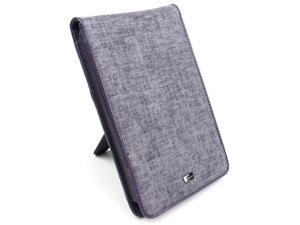 """JAVOedge Purple / Gray Charcoal Fabric Flip Style Case with Built in Stand for Amazon Kindle Fire 7"""" - First Generation"""