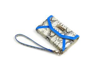 JAVOedge Blue Snake Pattern Tri Fold Wallet Card and ID Holder, Wristlet for the Apple iPhone 4S / iPhone 4