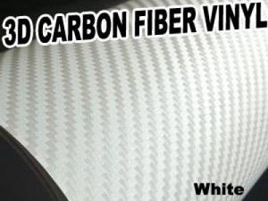 3D Texture Carbon Fiber Sticker Vinyl Flexible Decal Film Wrapping Sheet (White)