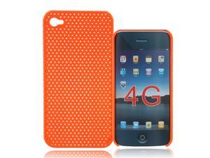 Orange Mesh Style Plastic Back Skin Case Cover for Iphone 4 4G 4S