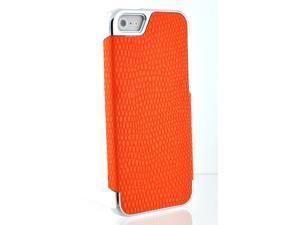 Crocodile Alligator Patten PU Leather Cover for  iPhone 5 Skin Hard Shell Case Orange Silver