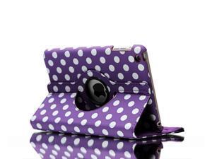 Apple iPad Leather 360° Rotating Polka Dots Leather Folio Case for iPad 2 / iPad 3 - Purple with White Dots