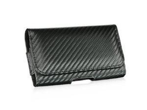 OEM Luxmo Carbon Horizontal Leather Pouch Belt Clip Holster Carrying Case For Apple iPhone 5 5S 5C
