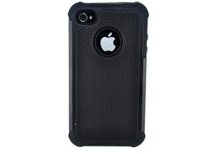NEW APPLE iPHONE 4 4S TRIPLE LAYER HARD SHELL GEL PROTECTIVE STYLE CASE COVER-- BLACK