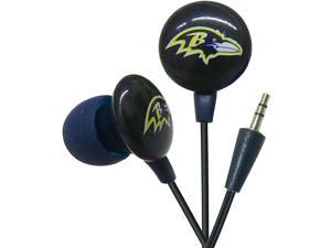 iHip NFL Officially Licensed Noise Isolating Mini Earbuds - Baltimore Ravens (Black/Purple)