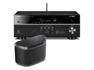 Yamaha RX-V681 7.2-Channel 4K AV Receiver with WX-030 MusicCast Wireless Speaker (Black)
