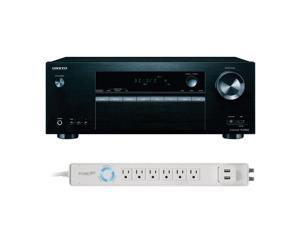 Onkyo TX-SR353 5.1 Channel A/V Receiver with HDCP2.2/HDR and Bluetooth and Panamax 6-Outlet Floor Power Strip with USB C