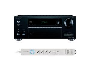 Onkyo TX-RZ610 7.2 Channel A/V Wireless Network Receiver with HDCP2.2/HDR & Bluetooth with 6-Outlet Floor Power Strip wi