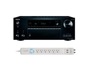 Onkyo TX-NR757 7.2 Channel A/V Wireless Network Receiver with HDCP 2.2/HDR DTS & Bluetooth and 6-Outlet Floor Power Stri