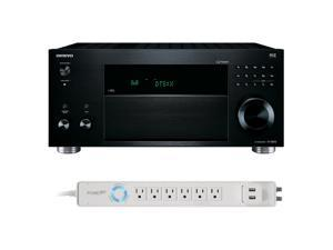 Onkyo TX-RZ810 7.2 Channel Wireless Network Receiver with HDCP 2.2/HDR & Bluetooth with 6-Outlet Floor Power Strip with