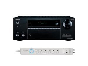 Onkyo TX-NR656 7.2 Channel A/V Wireless Network Receiver HDCP 2.2/HDR DTS & Bluetooth and 6-Outlet Floor Power Strip wit