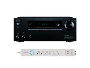 Onkyo TX-NR555 7.2 Channel A/V Wireless Network Receiver with HDCP 2.2/HDR DTS and Bluetooth and 6-Outlet Floor Power St
