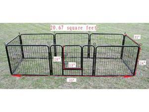 "New Black 8 Panel 24"" Heavy Duty Pet Playpen Dog Exercise Pen Cat Fence B"