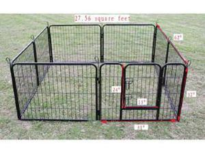 "New Black 8 Panel 32"" Heavy Duty Pet Playpen Dog Exercise Pen Cat Fence B"