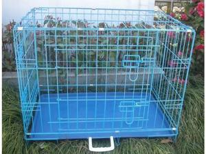"42"" 2 Door Blue Folding Dog Crate Cage Kennel LC ABS"