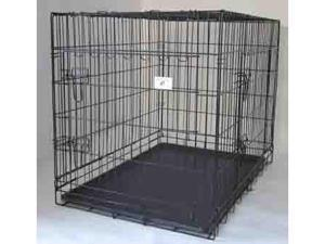"New Black 30"" 3 Doors Folding Dog Crate Cage Kennel w/Metal Pan NO DIVIDER"