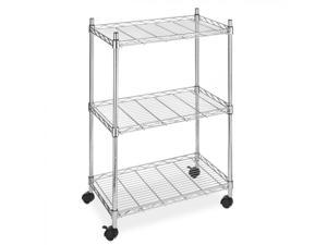 NEW Chrome Wire Shelving Cart Unit 3 Shelves w/casters Shelf Rack Wheels