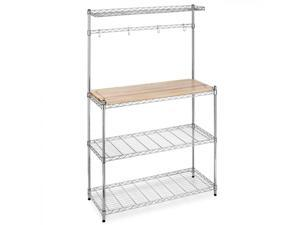 Chrome Bakers Rack with Cutting Board and Storage Kitchen Work Station K60