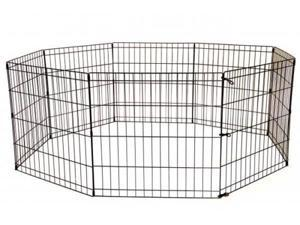 48-Black Tall Dog Playpen Crate Fence Pet Kennel Play Pen Exercise Cage -8 Panel