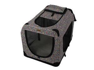 "42""Pink Leopard Portable Pet Dog House Soft Crate Carrier Cage Kennel Free Carry"