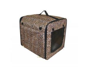 Dog Cat Pet leopard Bed House Soft Carrier Crate Cage w/Case L