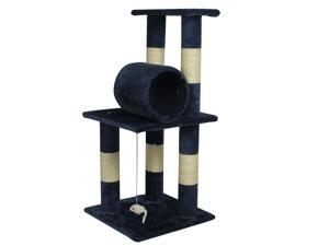"New Premium Multiple 34"" Navy Blue CAT TREE CONDO FURNITURE SCRATCHPOST PET HOUSE 5088"