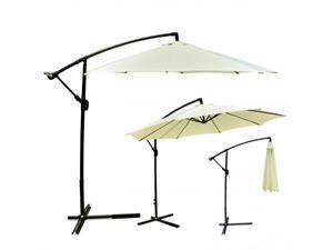 Patio Umbrella Offset 10' Hanging Outdoor Market Umbrella D10 - Beige