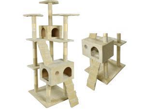 "BestPet 73"" Cat Tree Scratcher Play House Condo Furniture - Beige"