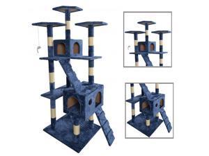 "BestPet 9073 73"" Cat Tree Scratcher Play House Condo Furniture - Navy Blue"