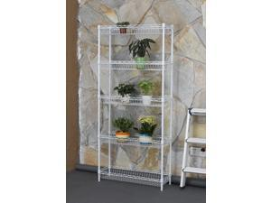 5-shelf Home-style White Steel Wire Shelving Storage Rack With Baskets B5