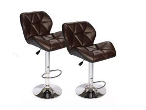 SET of (2) Bar Stools Leather Brown Hydraulic Swivel Dinning Chair Barstools B01
