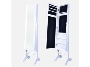BestMassage Jewelry Cabinet Armoire Mirror Stand Rings Necklaces -JC-TY60-White